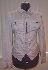 Comma Stretch Taupe Cotton Garment Washed Ruffle Placket Jacket Size 6 $140 NEW