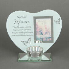 Special Mum Remembrance Tea Light Candle Memorial Heart Photo Frame Holder Gift