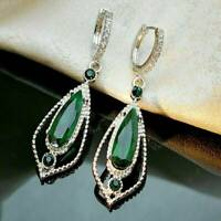 Trendy 925 Silver Emerald Dangle Earrings Ear Hook Womens Elegant Jewelry Gift