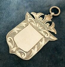 Antique solid silver large watch fob -