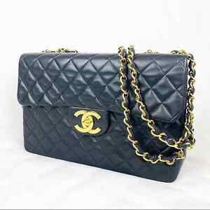 """Vintage Chanel Classic 13"""" Quilted Leather Maxi Jumbo Flap Bag Black Red"""