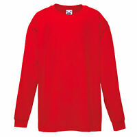 Childrens Fruit of the Loom 100% Cotton RED Long Sleeve T Shirt Top Age 12-13yrs