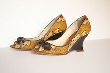 Bettye Muller Women's  Printed Wedge Heels Open Toe Bow Shoes Size 37,5 Italy