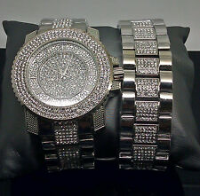 White Gold Finish Men Diamond Simulated Watch Bracelet Ice Time
