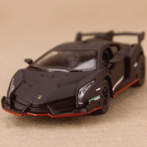 2014 Matte Black Lamborghini Veneno 1:36 Die-Cast Scissor Doors Pull Back Model