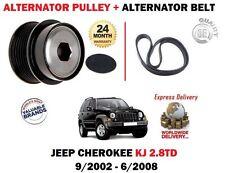 FOR JEEP CHEROKEE 2.8 TD ENR KJ 2002-2008 ALTERNATOR PULLEY + FAN BELT KIT