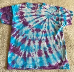 Hanes Boys Blue White Purple Tie Dye Spiral Short Sleeve Shirt Medium 8