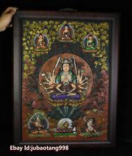 Old Tibetan Wood Purple Bronze Painting 18 Hands Maha Cundi Mother Buddha TangKa