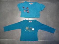 T-shirt ML + gilet MC assorti bleu pétrole brodé fleurs SALSO BAMBA Taille 4 ans