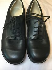 Finn Comfort Shoes US8.5 Women's Solid Black Leather Lace-Up Flat Oxford~Germany