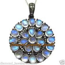 Vintage Estate 1.09cts Rose Cut Diamond Moonstone Studded Jewelry Silver Pendant