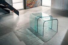 Coppia tavolino da Salotto in cristallo   L 44 P 44 H 38 più L 48 P 48 H 40