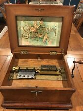 Vintage 1880's Symphonion Walnut Case Music Box Beautiful Sound.18 Discs