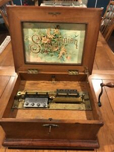 Vintage 1880's SYMPHONION Walnut Case MUSIC BOX Beautiful Sound.18 Discs