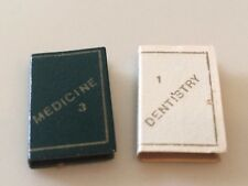 Dollhouse Miniatures Set of 2 Green and White Medical and Dental Books Opening