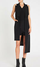 Sass & Bide This Way Up Black Long Vest Gillet Size  8 Uneven Hem