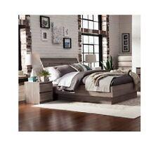 Queen 4 Piece Bedroom Set Platform Bed Headboard & TWO Nightstand Wood Furniture