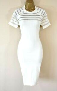 NEW KAREN MILLEN L Sexy Ivory Sheer Stripe Fine Knit Pencil Bodycon Dress
