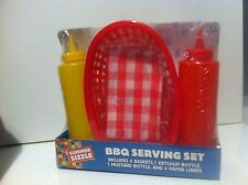 Set 10 pc Bbq Serving 4 Baskets with 1 Ketchup ,1 Mustard Bottle & 4 Paper Liner