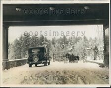 1927 Lovely Winter Scene Snow Covered Lake Placid Club Driveway NY Press Photo