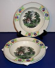 """LOT OF 3 COPELAND SPODE RIMMED SOUP DISH 7.5""""  # 7311 COTTAGE IN THE COUNTRYSIDE"""