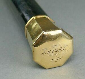 Fine Antique 1848 14K Gold & Ebony Wood Gentleman's Walking Stick Cane