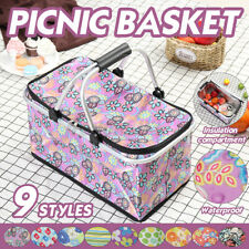 Large Picnic Basket Thermal Insulated Storage Bag Cooler Tote Food Lunch  ~
