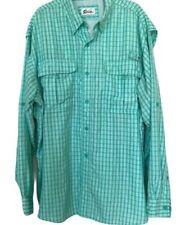 World Wide Sportsman Sz 2Xl Men's Fishing Boating Shirt Button Down Plaids Green