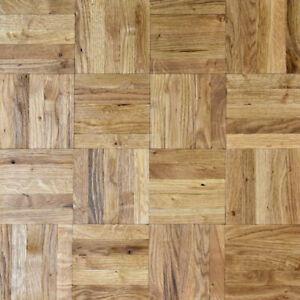 Solid Oak Parquet Mosaic Panels - Rustic Grade - Unfinished 8 x 480 x 480mm