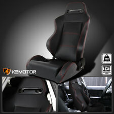 [Driver Side] Reclinable Red Stitching PVC Leather Sport Racing Seat w/ Silder
