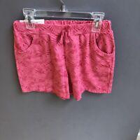 UNIQLO Kids Girls Jersey Easy Shorts PINK RED Fern Print NWT $9.90 SZ 11/12 CUTE