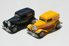 Lot/2 Vintage Diecast1988 HOT WHEELS 32' FORD DELIVERY VANS 1Yellow 1Black #7672
