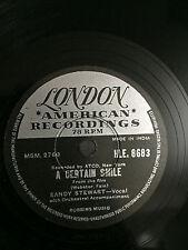 SANDY STEWART kiss me richard/certain smile INDIA INDIAN RARE 78 RPM RECORD VG++
