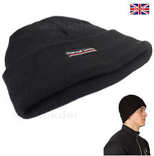Mens Thermal Lining Beanie Hat Black Winter Warm & Cosy One Size Fits All