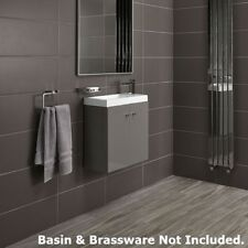 Alpine Duo 495 Wall Mounted Cloakroom Vanity Cabinet - Grey Gloss - Soft Close