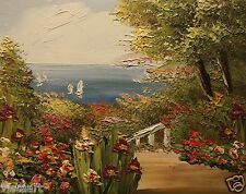 """High Quality Oil Painting Stretched Canvas 8x10""""  - Colorful Garden Near Sea"""