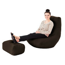Brown Soft Faux Leather Bean Bag Gamer Foot Stool Beanbag Gaming Arm Chair Seat