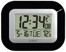 La Crosse Technology 7 L x 9 W door Digital Wall Clock Glass and Plastic Black