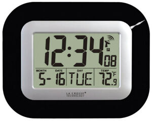 La Crosse Technology 7 L x 9 W door Digital Wall Clock Glass and Plastic Black