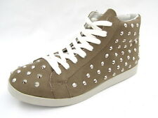 Xhilaration High Top Sneakers Women's 7½M New Metal Studded Shoes Gray Fabric