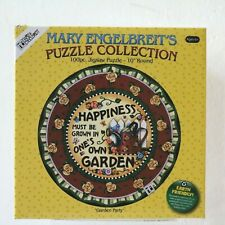 Mary Engelbreit Round Jigsaw Puzzle GARDEN PARTY 100 Pieces 10in New Sealed
