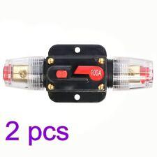 2x 12V-24V Inline Auto Circuit Breaker 100Amp Manual Reset Switch Car Audio Fuse