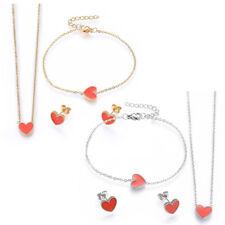 Stainless Steel Set Pendant Necklace Earring Bracelet Enamel Heart Red Gold P748