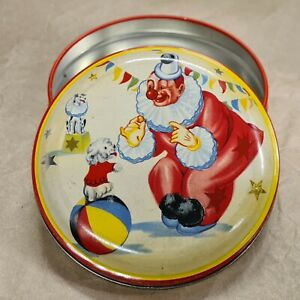 """Vintage George W Horner 4"""" sweet / toffee tin featuring Circus Clown with dogs."""
