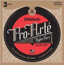 3 sets D'Addario EJ45 Pro Arté guitarra Clásica cuerdas - normal Tensión