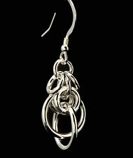 Orbits 2 Chain Maille Earrings .925 Sterling Silver Designer Created Chainmail