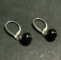 950 Sterling Silver Hanging Reflective Black Round Bead Silver Tone Earrings 3g