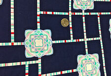 "BTY~ MICHAEL MILLER 100% COTTON FABRIC ~ PAINTBOX ~ GRAPHIC FLORAL ~ NAVY ~ 45""W"