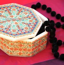 4'' Marble Ring Box Semi Precious Arts Inlay Birthday Gift For Girl Friend H3779