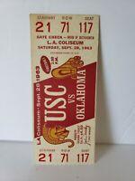 Rare Full Ticket 1963 USC Vs Oklahoma At La Coliseum